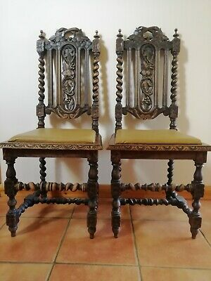 A Pair Of Jacobean Victorian Edwardian Antique Hand Carved Oak Dining Chairs