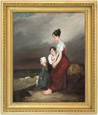 Mother and Children Antique Oil Painting Joseph Beaume (French, 1796-1885)