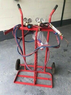 Portable Oxy - Acetylene cylinder trolley with gauge and torch