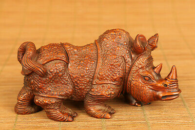 Rare old boxwood rhinoceros statue figure collectable table decoration gift