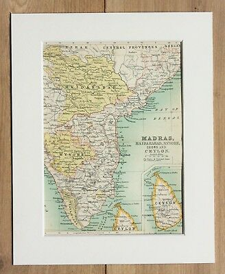 c.1900 Antique Small Map - Southern India Madras Hyderabad Ceylon - Mounted