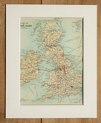 c.1900 Antique Small Colour Map - British Isles Railway Map  - Mounted