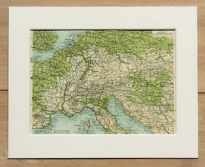 c.1900 Antique Small Map - Central Europe Germany France Austria Italy - Mounted