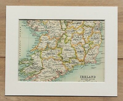 c.1900 Antique Small Colour Map - Southern Ireland Counties - Mounted