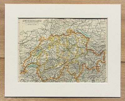 c.1900 Antique Small Colour Map - Switzerland Cantons Alps - Mounted