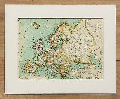 c.1900 Antique Small Map - Continental Europe - Mounted