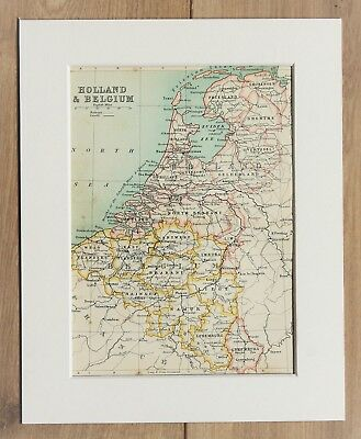 c.1900 Antique Small Map - Holland Belgium Luxembourg - Mounted