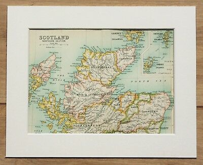 c.1900 Antique Small Colour Map - Northern Scotland Counties - Mounted