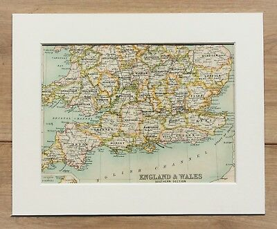 c.1900 Antique Small Colour Map - Southern England Wales Counties - Mounted