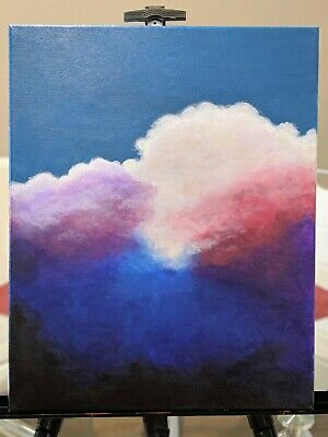 "ORIGINAL NEW 20""x 16"" HAND PAINTED ACRYLIC CLOUD PAINTING ON CANVAS."