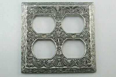 Vintage Silver Metal Filigree Double Outlet Plate.