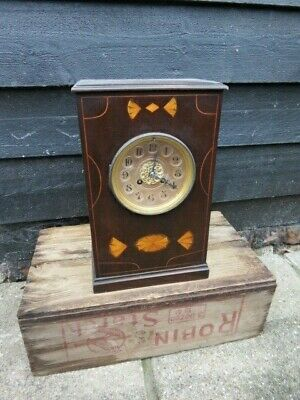 Antique French 8 Day Inlaid Mahogany Mantel Clock