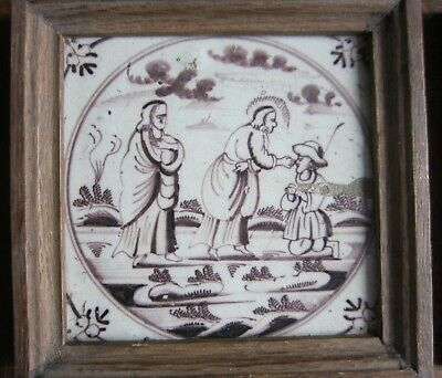 Antique Delft tile  - biblical - 18th century
