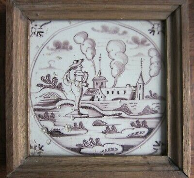 Antique Delft tile  - manganese - 18th century