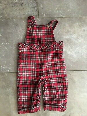 Janie & Jack 3M 6M Red Plaid Longall Romper Christmas Green Cuffed Overall 9M Bo