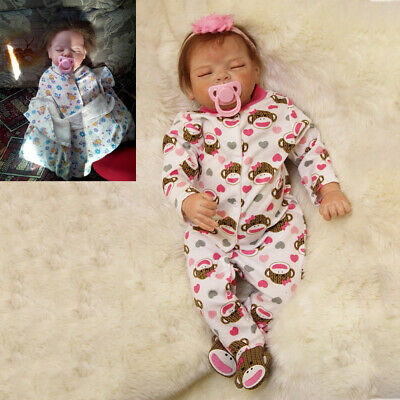 22'' Bebe Reborn Baby Doll Realistic Hair Rooted Lifelike Soft Silicone Newborn