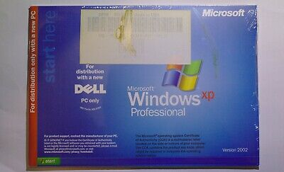 NEW SEALED IN PACK Microsoft Windows XP Professional Version 2002 FOR DELL PC