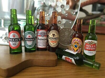 ONE DOLLS HOUSE MINIATURE BEER LAGER BOTTLE 1:12th / 1:6th Lots to choose from!!