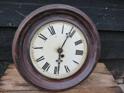Antique French Metal Cased Dial Clock For Spares Or Repair