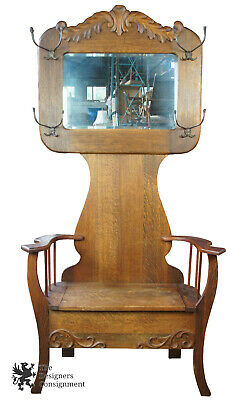 Antique Quartersawn Oak Victorian Carved Hall Tree Seated Bench Beveled Mirror