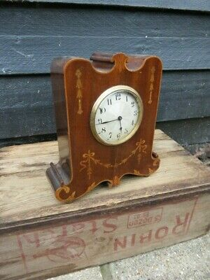 Antique Art Nouveau Inlaid Mahogany 8 Day Mantel Clock