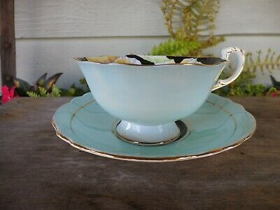 Vintage Paragon China Pansy Tea Cup & Saucer w  Blue & Gold - As Found