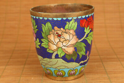 Rare Old enamels Cloisonne Hand painting flower tea cup noble gift decoration