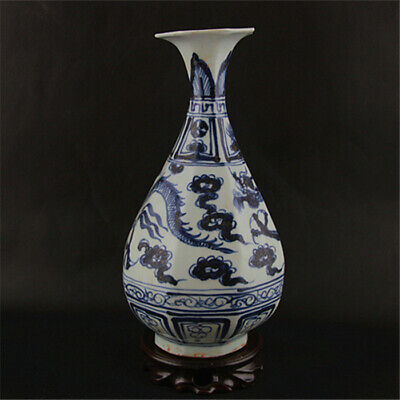 Chinese ancient antique hand make Blue and White Dragon Patterns vase
