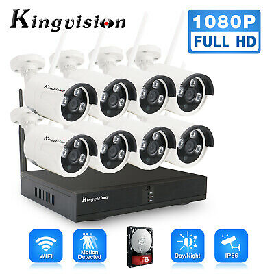 New 1080P Wireless Security Camera System 8CH HD CCTV WIFI Kit NVR Outdoor