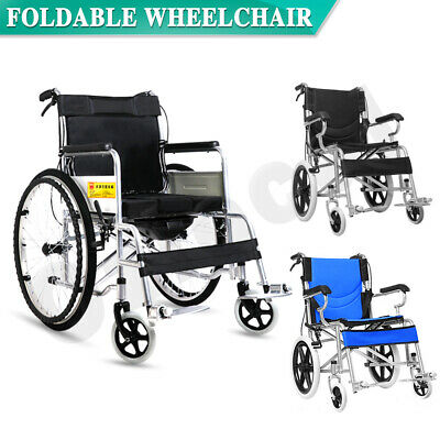 "24''/ 16"" Foldable Medical Wheelchair Footrest Backrest + Bedpan Transport"