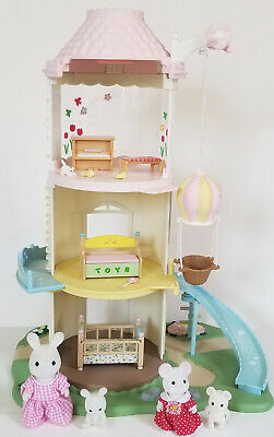 CALICO CRITTERS Baby PLAYHOUSE 4 level WINDMILL with 4 CRITTERS toybox PIANO ++