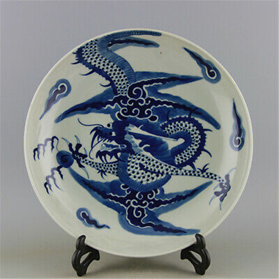 Chinese ancient antique hand make  Blue and White Dragon-pattern Porcelain Plate