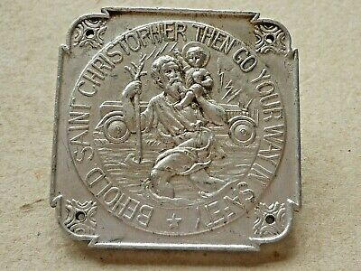 Vintage Aluminium Car Dashboard Plaque St Christopher Badge Vintage Car Badge