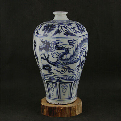 Chinese ancient antique hand make Blue and White Dragon pattern vase