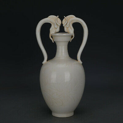 Chinese ancient antique hand make White glaze  double  Loong  respect vase