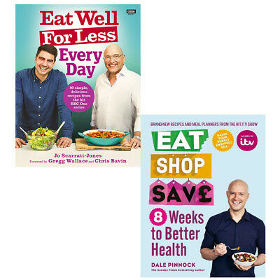 Eat Well for Less Every Day and Eat Shop Save 8 Weeks 2 Book Collection Set NEW