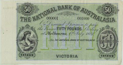 National Bank of Australasia (Melbourne) 1881 50 Pounds Unissued Specimen Note M