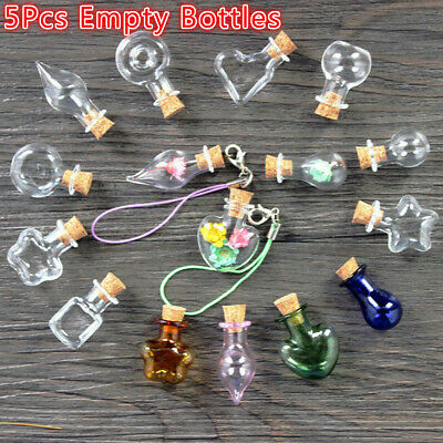 5pcs Mini Glass Cork Wishing Bottle Empty Sample Jars DIY Pendant Jewellery