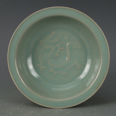 Chinese ancient antique hand make cyan glaze Dragon pattern plate
