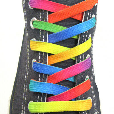 10mm RAINBOW LACES 120cm GAY PRIDE LGBTQ TRAINERS BOOTS FUN BRIGHT NEW PAIR 536
