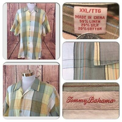 Exc Cond Tommy Bahama Mens 2Xl Linen Silk Cotton Summer Plaid S/S Button Shirt