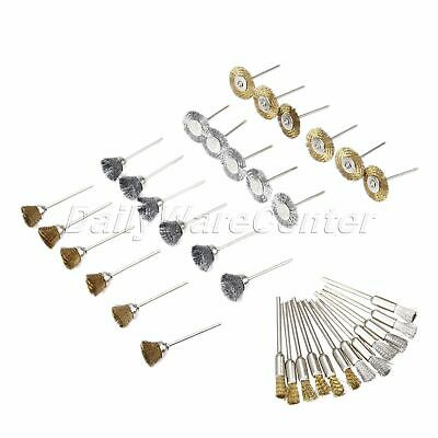 36Pcs/Lot Rotary Steel Wire Brush Cup Brass Wheels Shank Polishing Wheel Tools