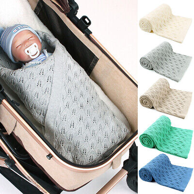 Knitted Swaddle Baby Blanket Hollow-out Newborn Boy Girl Infant Birth Gifts