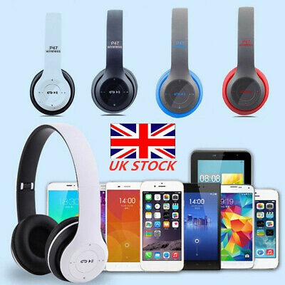 New Mic Foldable Wireless Bluetooth Stereo Headset Handsfree Headphones UK HOT