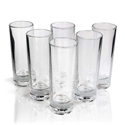 Tall Tequila Shot Glasses Set of 6 Crystal clear Glassware Kit New