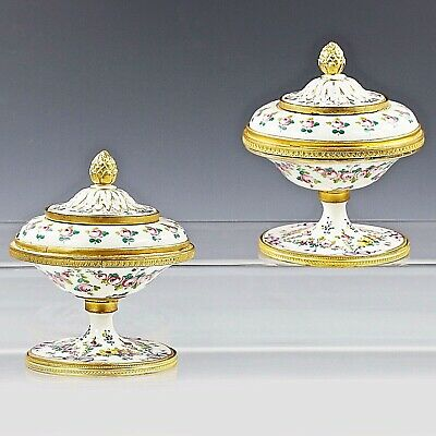 Pair Antique French Sevres Porcelain lidded Bowls hand painted flowers
