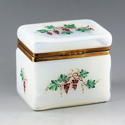 Vintage to Antique French Opaline crystal glass trinket Box hinged lid ormolu