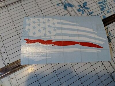 Distressed  American flag thin red line Vinyl Decal Sticker | Ripped Torn USA