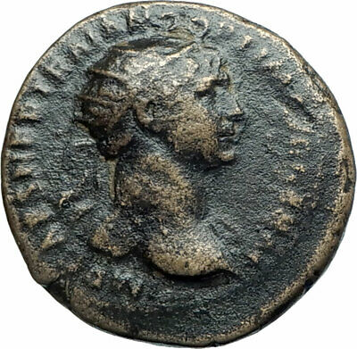 TRAJAN Rare SEMIS of Rome for ANTIOCH on the ORONTES Ancient Roman Coin i78471
