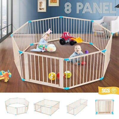 Burlywood Wooden Pet Baby Playpen 8 Panels Lockable Door Foldable & Adjustable